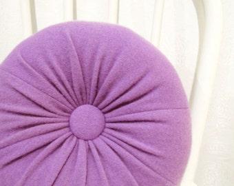 Purple Round Cashmere Throw Pillow Accent Decorative Pillow Sofa Cushion Housewarming Gift Bedroom Pillow Wool Sofa Petite Lumbar Pillow 108