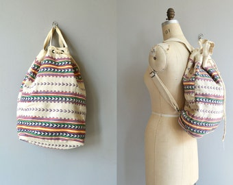Azimba drawstring backpack | vintage woven cotton backpack | southwest woven drawstring backpack