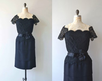Marveilleux dress | vintage 1950s dress | black lace 50s cocktail dress