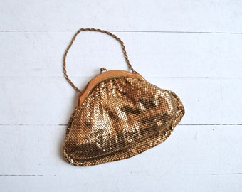 Whiting & Davis mesh bag | vintage 30s gold mesh evening bag | 1930s purse