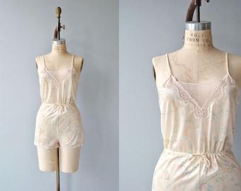 Bezuda floral romper | vintage 1970s teddy | lace floral 70s lingerie
