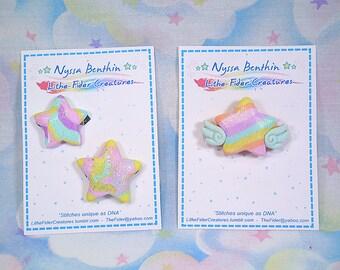 Fairy kei star pins - polymer clay originals