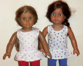Cotton Ruffle Tank Top, 18 inch Doll Shirt,  American Made, Girl Doll Clothes