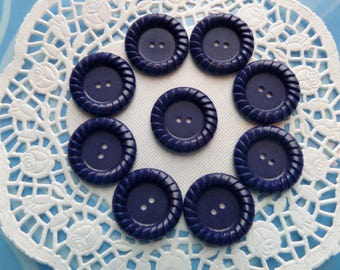 9 Vintage Navy Blue 2 Hole Buttons 1 Inch