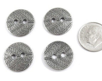 TierraCast Buttons-Antique Pewter ROUND LEAF (4 Pieces)