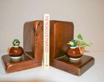 Vintage Rustic Bookends with Ducks