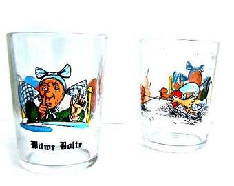 Vintage Glassware Size 12 Reims France MC Barware, Witwe Bolte Beer Tasting Glasses Set of Two 1970s Souvenir Germany Tales
