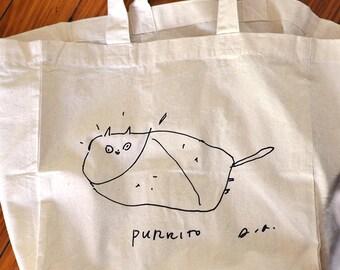 Purrito Cat Tote - Cat Bag - Cat Lover - Summer Bag