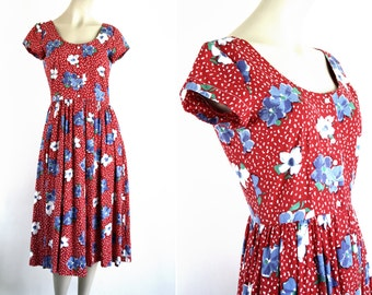 Red Floral Short Sleeve Retro Woman's Day Dress