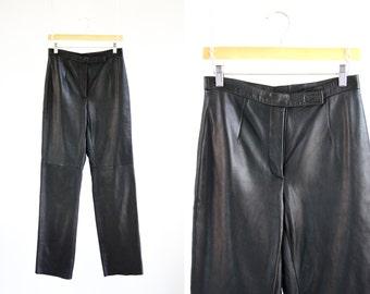 Jacqueline Ferrar Woman's Vintage Black Leather High Waist Relaxed Fit 90's Pants