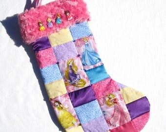 4 Disney Princesses Patchwork Quilted Christmas Stocking Cinderella Stocking Belle Stocking Aurora Stocking Rapunzel Stocking Personalized