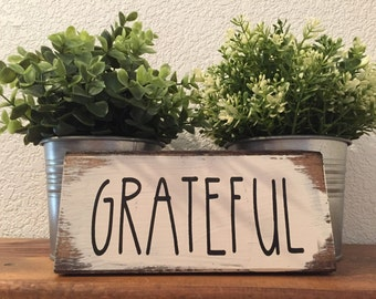 """Grateful sign inspired by Rae Dunn  9""""w x 3 1/2""""h hand-painted wood sign,farmhouse style,fixer upper,home decor,white walls decor"""