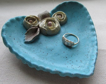 Bright Aqua Heart Trinket bowl with rosebuds, Catchall bowl, handcrafted bowl, jewelry bowl, bowl, soap dish, tracee, unique clay creations