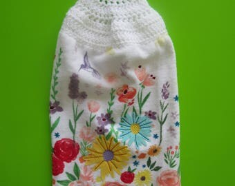 Hummingbird and Multi Floral Crochet Top Hanging Terry Kitchen Hand Towels