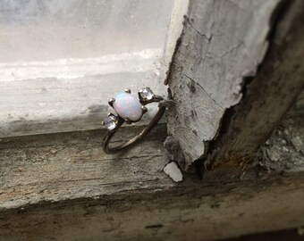 Opal and Rose Cut Diamond Little Death Ring