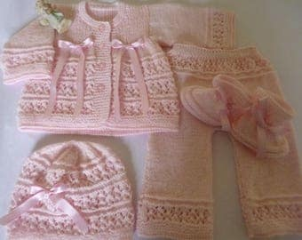 Christening Outfit, Take Home Set, Knitted Suit, Coming Home, Baby Shower, First Outfit, Newborn Suit, Newborn Ensemble.