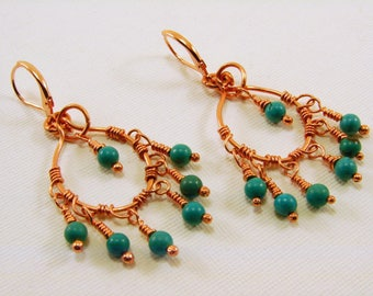 Copper and Turquoise Chandelier Earrings