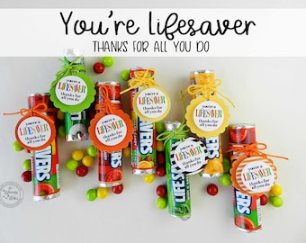 You're a Lifesaver Treat Tag / 48 / Thank you gift / Teacher Appreciation Gift / Random Acts of Kindness / Gift for friends