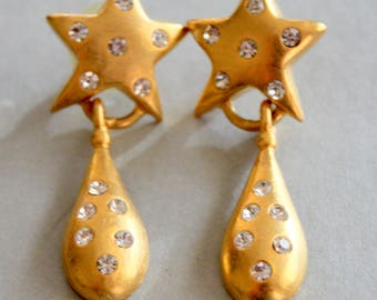 Dangle Earrings Gold tone Star Rhinestone Vintage