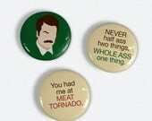 Ron Swanson button Set of 3 Parks and Recreation inspired pinback buttons