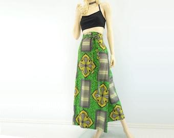 70s African Skirt African Clothing African Maxi Skirt 1970s Wrap Skirt Yellow Green Skirt Boho Ethnic Skirt Tribal Print Skirt Free Size