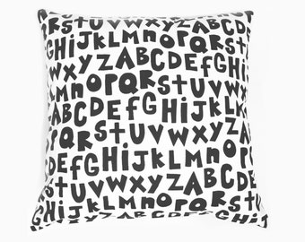 Alphabet - black and ivory, monochromatic, organic, hand printed pillow, alphabet cushion, reading corner pillow, ABCs, nursery decor