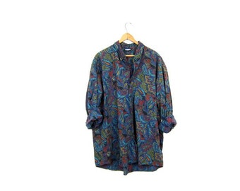 90s Paisley Print Shirt Floral Button Up Rayon Cotton Blouse 80s Preppy Boho Button Down Shirt Slouchy Blue Purple Green Shirt Womens Mens