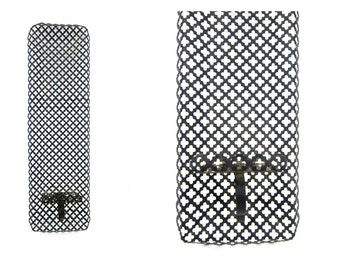 Mid Century Black Metal hanging Candle holders mesh filagree wall candle holder Punched Metal Home Decor