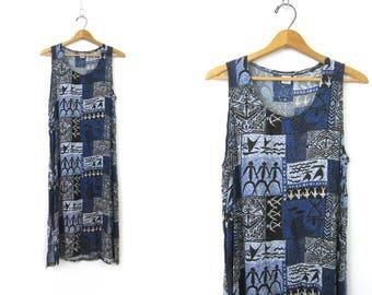 90s PRINT Dress Long Cotton Sleeveless Tank Slip Dress Blue Tribal Pattern Boho Frock 1990s Midi Dress Summer Dress Size Womens Medium