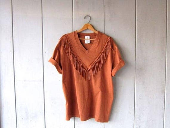 Vintage 80s Fringed Tshirt Red Sand Cotton Fringe Tee Oversized Boho Tribal Shirt Basic Shirt with Tassels Cotton Vneck Shirt OSFM