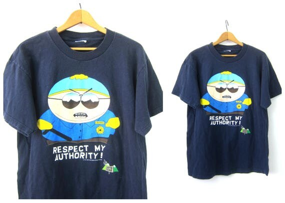 1990s Cartman Tshirt Respect my Authority South Park Cartoon T-Shirt Oversized Comdey Central Novelty Tee Shirt Unisex size Large