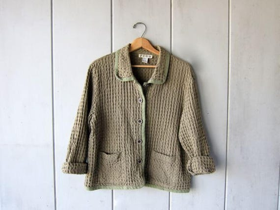 Button Up Waffle Knit Cotton Jacket Sage Green Shirt Thick Textured Shirt Jacket Minimal 90s Slouchy Pocket Shirt DES Womens Large