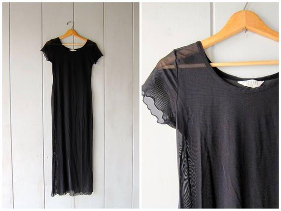 90s Long Black Slip Dress SHEER Thin Mesh Dress Vintage See Through Dress Fishnet Stretchy Dress Long Maxi Gothic Dress Womens Small XS