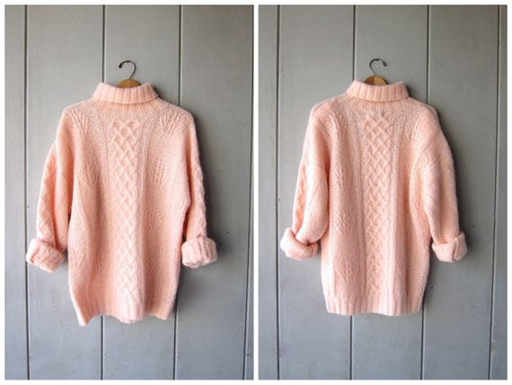 Thick Pink Turtleneck Sweater 80s Mohair Spring Sweater Oversized Cable Knit Fisherman Sweater Preppy Minimal Boho Jumper Top Small Medium