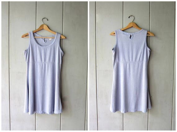 90s Blue Mini Dress Basic Flirty Sundress Sleeveless Grunge Tunic Babydoll Dress Clueless 1990s Dress Vintage Minimal Womens Small