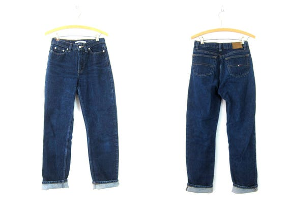 90s Tommy Hilfiger Blue Jeans Dark Wash Denim Jeans Vintage Tommy Hilfiger 1990s Hipster Grunge Womens Size 28 x 31