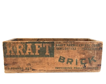 Vintage Wooden KRAFT Cheese Box~ Chicago Rustic Primitive Storage~ Old Repurposed containers~ Industrial storage