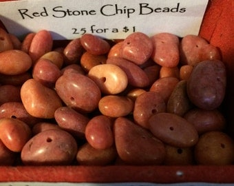 Vintage Red Stone Chip Beads 25