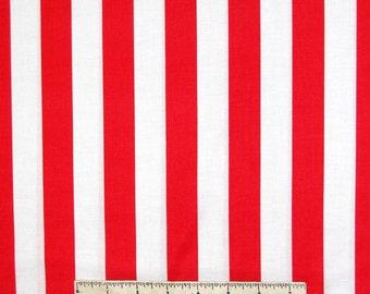 "Patriotic Fabric - JL10 Red & White 1"" Candy Stripe - Dear Stella Cotton YARD"