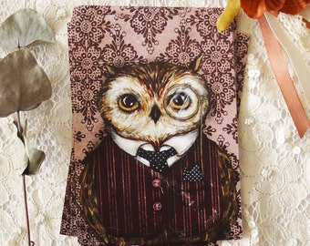 Postcard - Illustrated postcard - Owl - monocle - anthropomorphique - Peter Bird