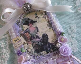 Victorian Ladies Gift Tag, Mixed Media Art Tag, Extra Large Hang Tag,   Purple Gift Tag,  French Gift Tag, Wedding Gift Tag