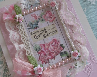 Handmade Birthday Card, Shabby Birthday Card,  Vintage Collage Art Card, OOAK Card, Embellished Card, Womens, Card , Mixed Media Art Card