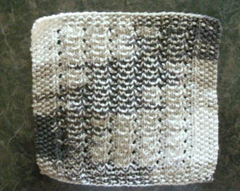 Hand Knit Dishcloth - measures approximately 9x9 inches - Various colors of brown, light brown and a tan