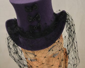 Top Hat in Purple Wool Felt with Veil and Bows