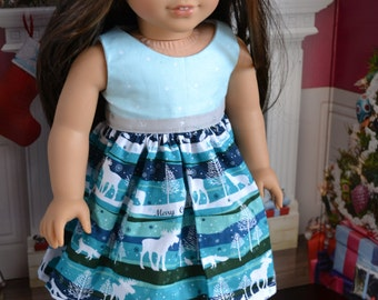 18 inch Doll Clothes - Moosey Christmas Stripes Colorblock Dress - AQUA TEAL SILVER - fits American Girl