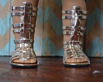 Doll Shoes - Metallic Gold Tall Gladiator Sandal - fits American Girl