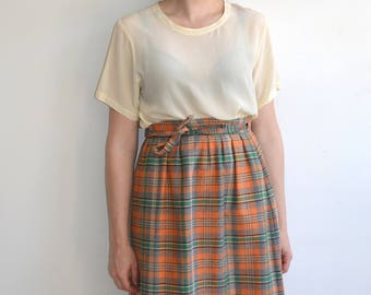 Vintage 70s Plaid Wrap Skirt/ Orange Green Wrap Around Wool Skirt/Hunter Sportswear/Small Medium