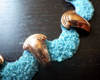 Vintage Copper and Speckle Blue Necklace - Pool Blue - Vintage - matisse Brand