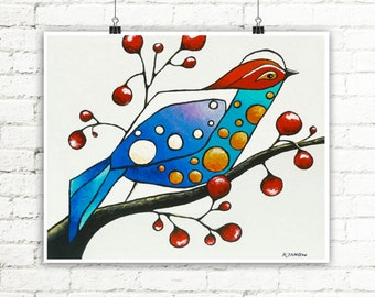 Bird Print, Whimsical Bird Art, Blue Bird Animal Art, Archival Print from Original Painting, Red Blue, Signed Print