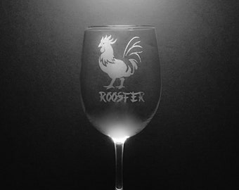 Chinese Zodiac Rooster 13 Ounce Wine Glass